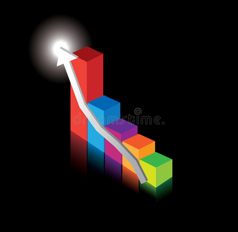 Business performance graph on black stock illustration