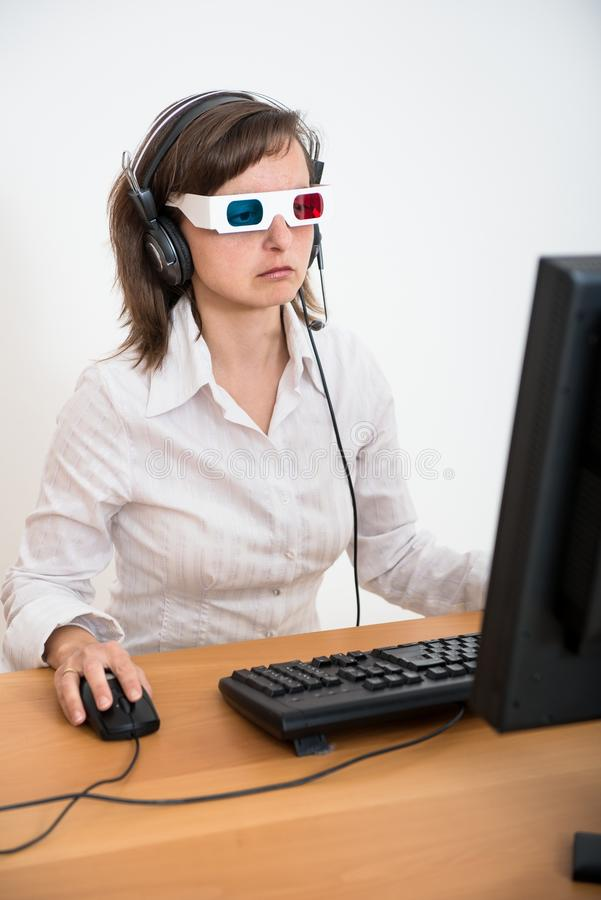 Download Business Person With 3d Glasses Working At Office Stock Photo - Image of table, girl: 24366974