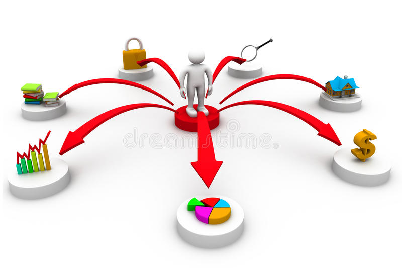 Download Business Person With Business Icons Stock Illustration - Image: 42847061