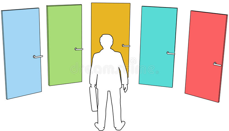 Business Person Choose Doors Choices Decision Stock Image