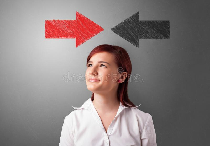 Business person choosing direction. Business person choosing between several directions royalty free stock image