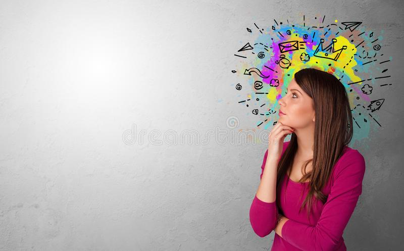 Business person with drawn icons royalty free stock images