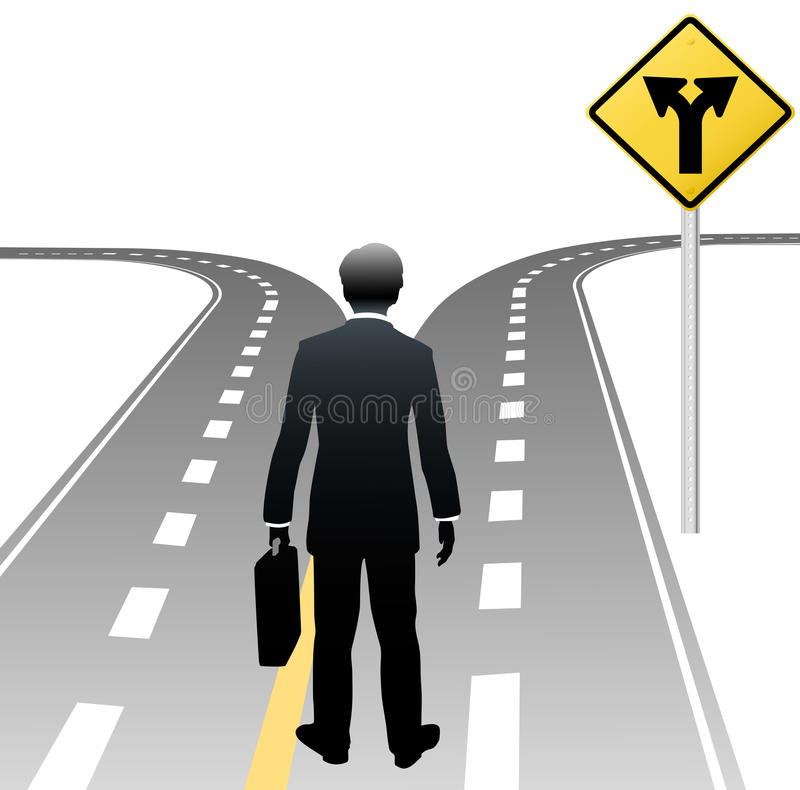 Business person decision directions road sign. Business person standing at road sign choice makes decision on future course vector illustration
