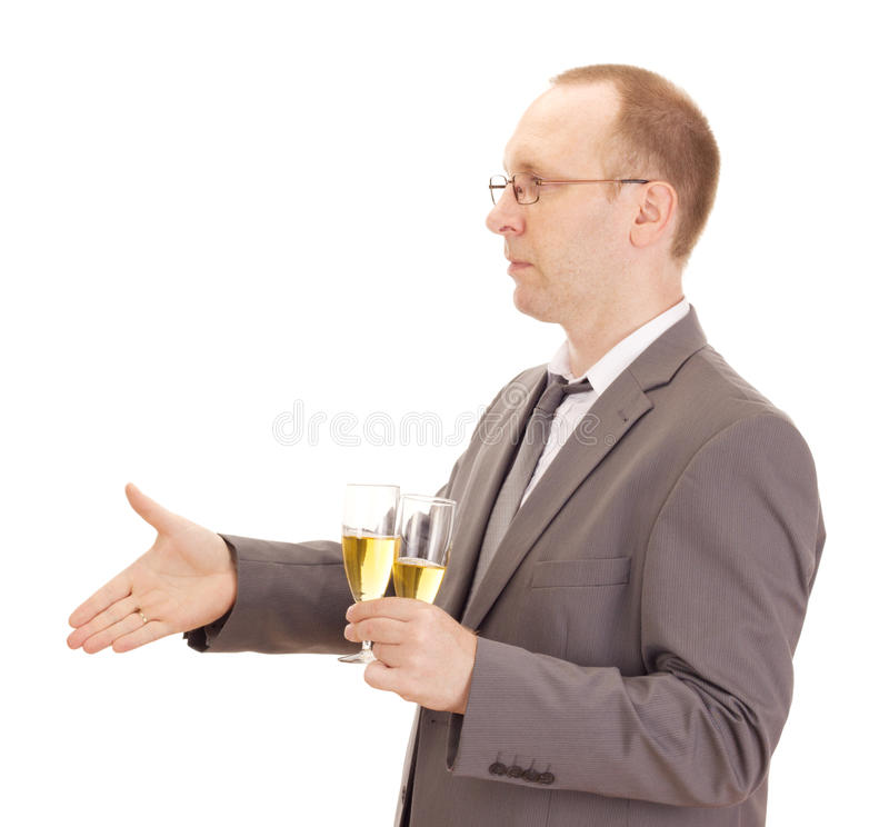 Business person drinking champagne royalty free stock image