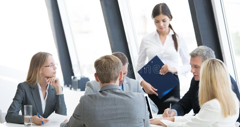 Business group at meeting stock image