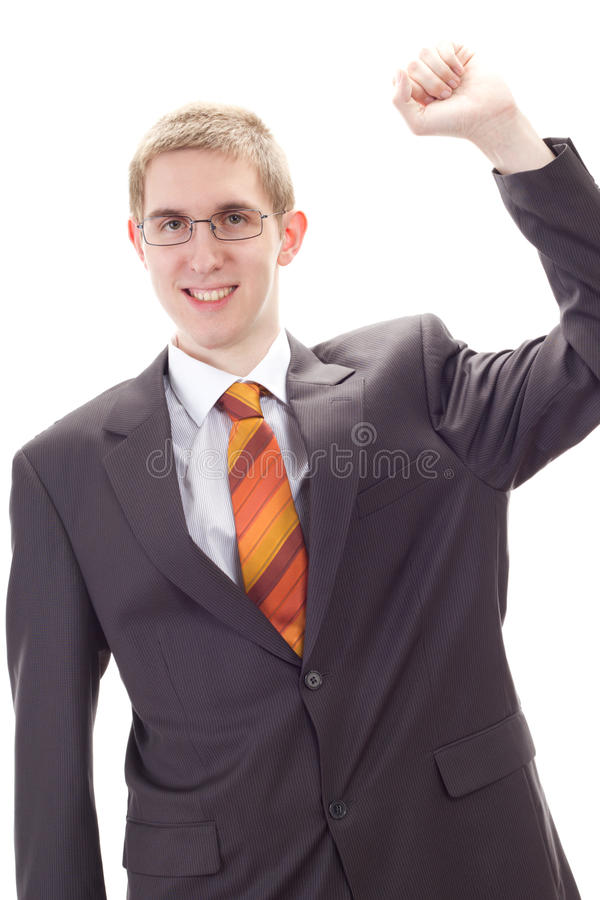 Business person happy about success stock images