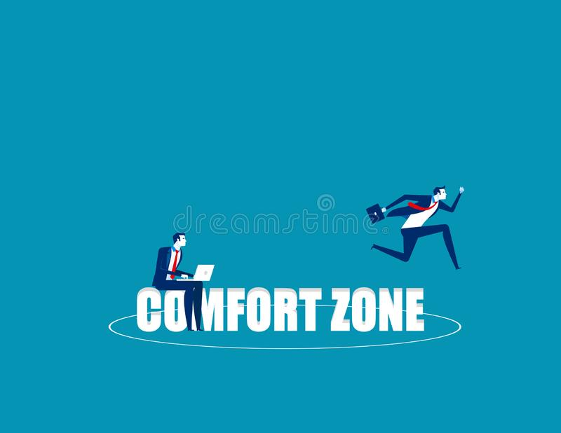 Business person jumping out comfort zone. Concept business vector, Outside, Freedom, Exit stock photo