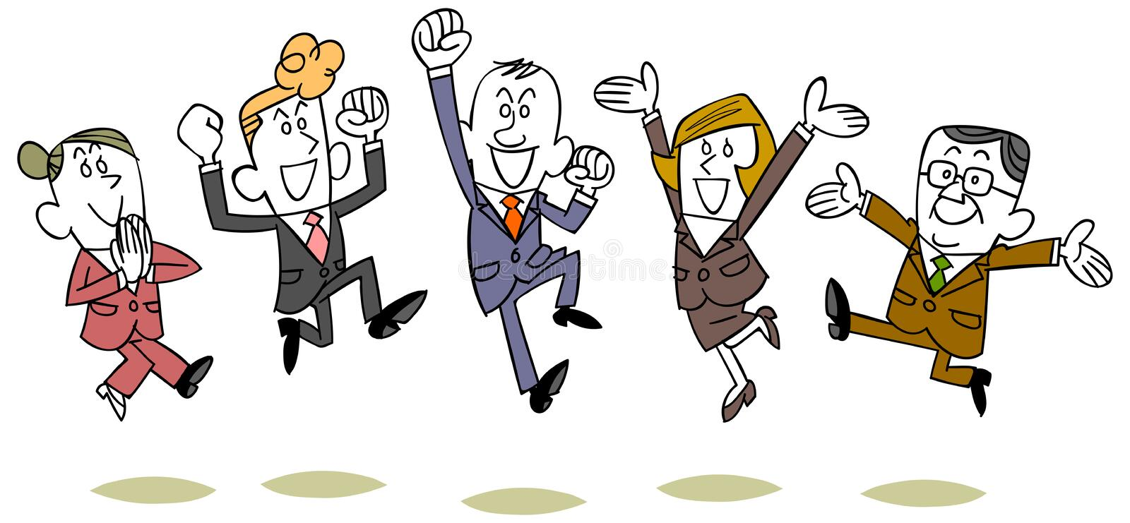 Business person line to jump stock illustration