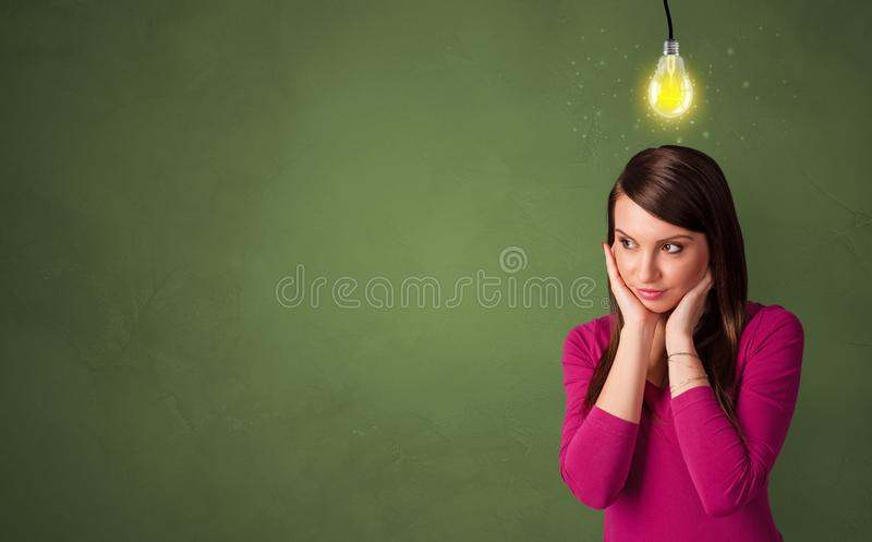 Business person looking for new idea. With grey copy spacen stock images