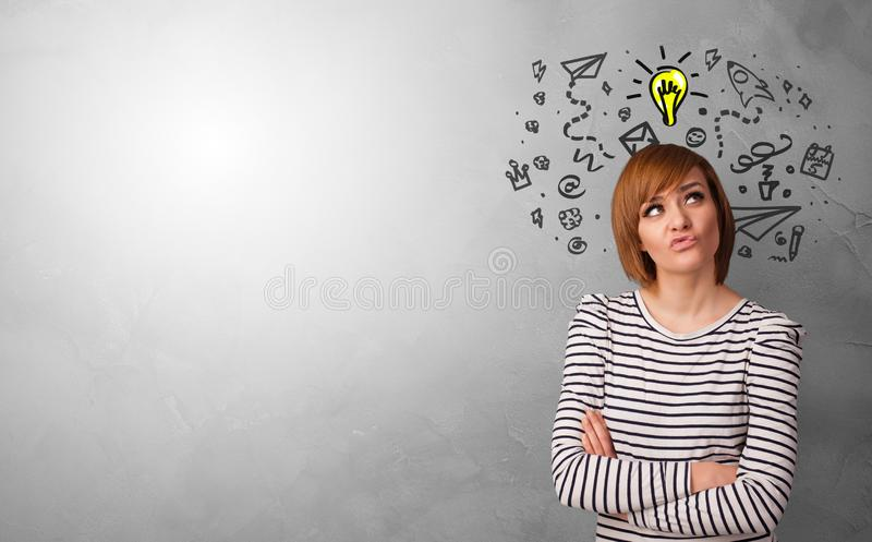 Business person looking for new idea. With grey copy space royalty free stock photos