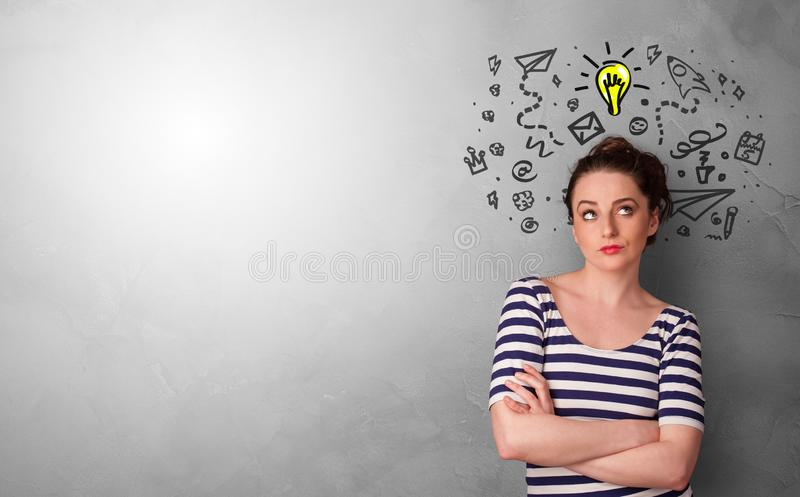 Business person looking for new idea. With grey copy space stock photos