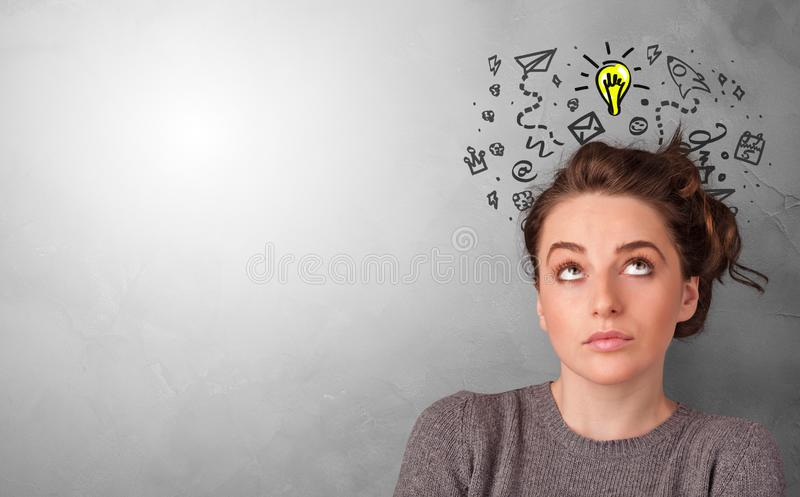Business person looking for new idea. With grey copy space stock images