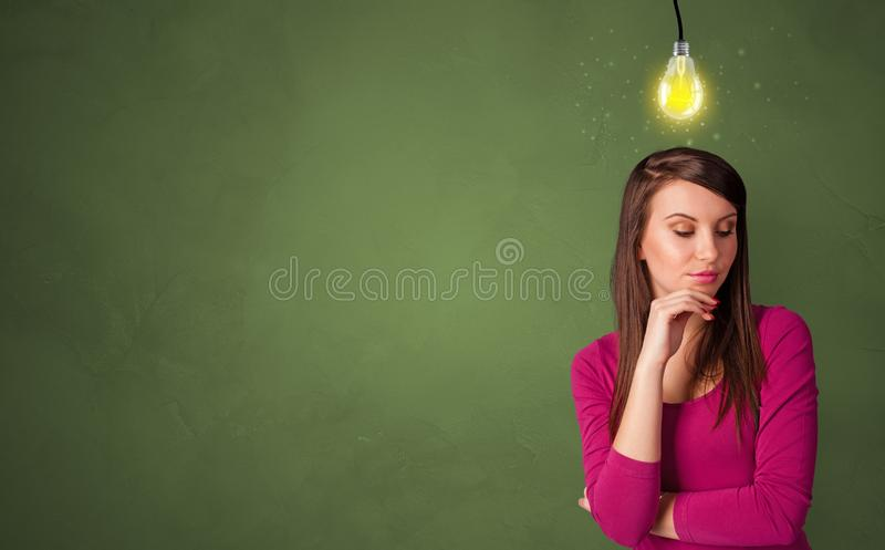 Business person looking for new idea. With grey copy space royalty free stock image