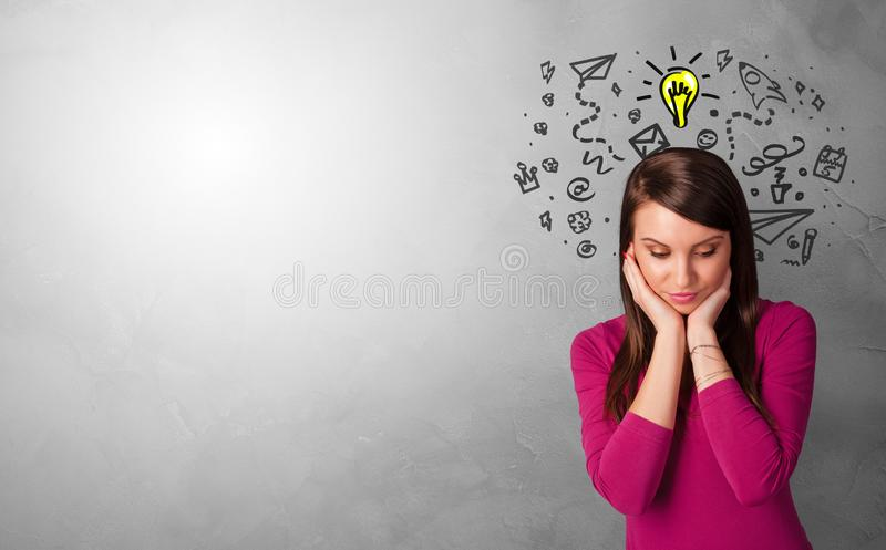 Business person looking for new idea. With grey copy spacen royalty free stock photo