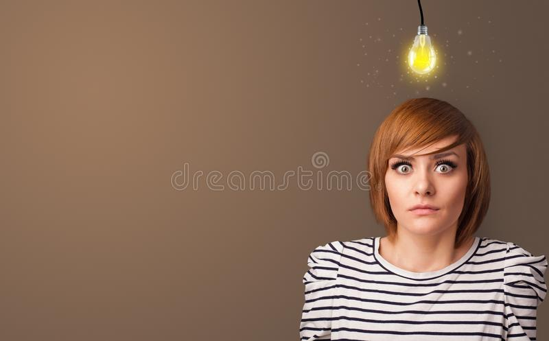 Business person looking for new idea. With grey copy spacen stock image