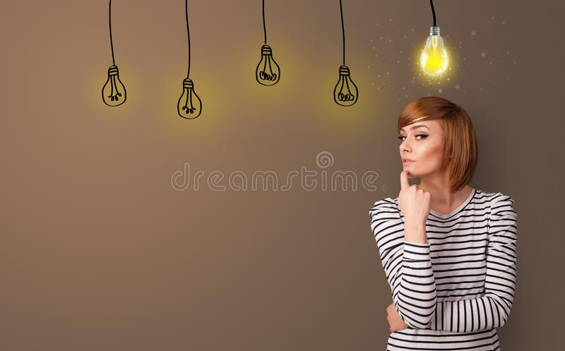 Business person looking for new idea. With grey copy spacen stock photography