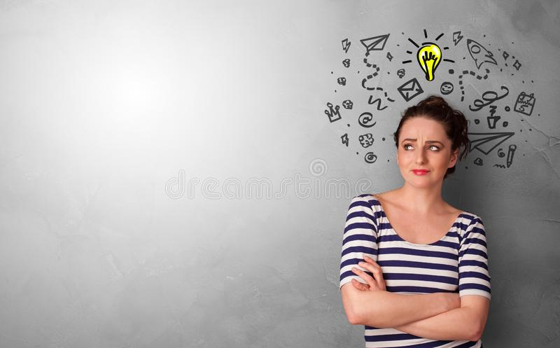 Business person looking for new idea. With grey copy space stock photography