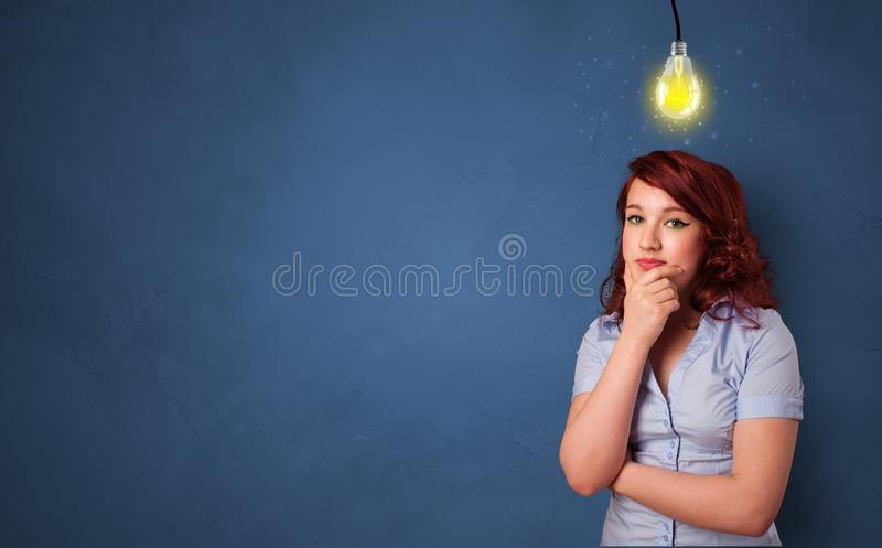 Business person looking for new idea. With grey copy space stock photo