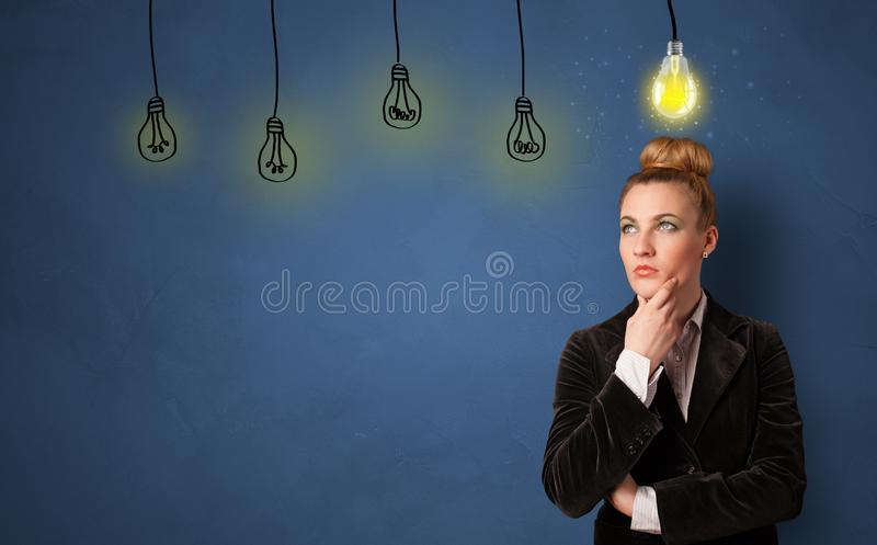 Business person looking for new idea. With grey copy space royalty free stock photography