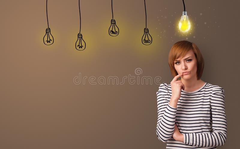 Business person looking for new idea. With grey copy spacen royalty free stock image