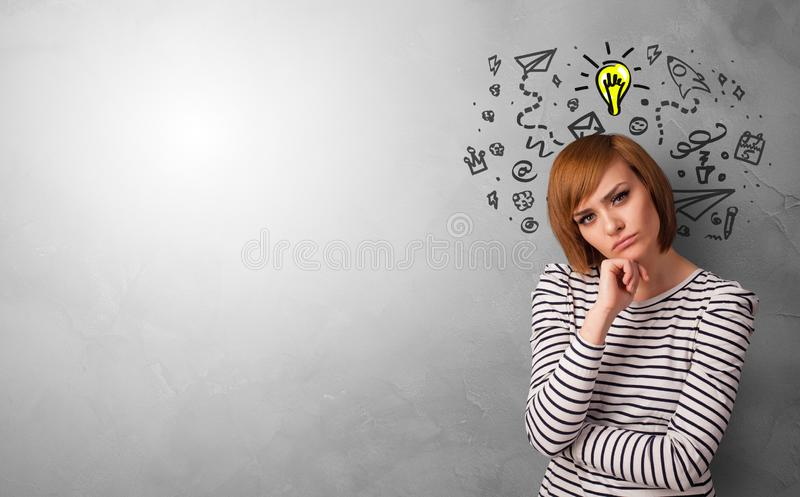Business person looking for new idea. With grey copy space royalty free stock images