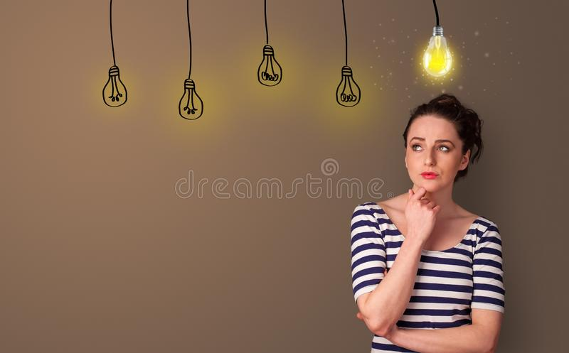 Business person looking for new idea. With grey copy space royalty free stock photo
