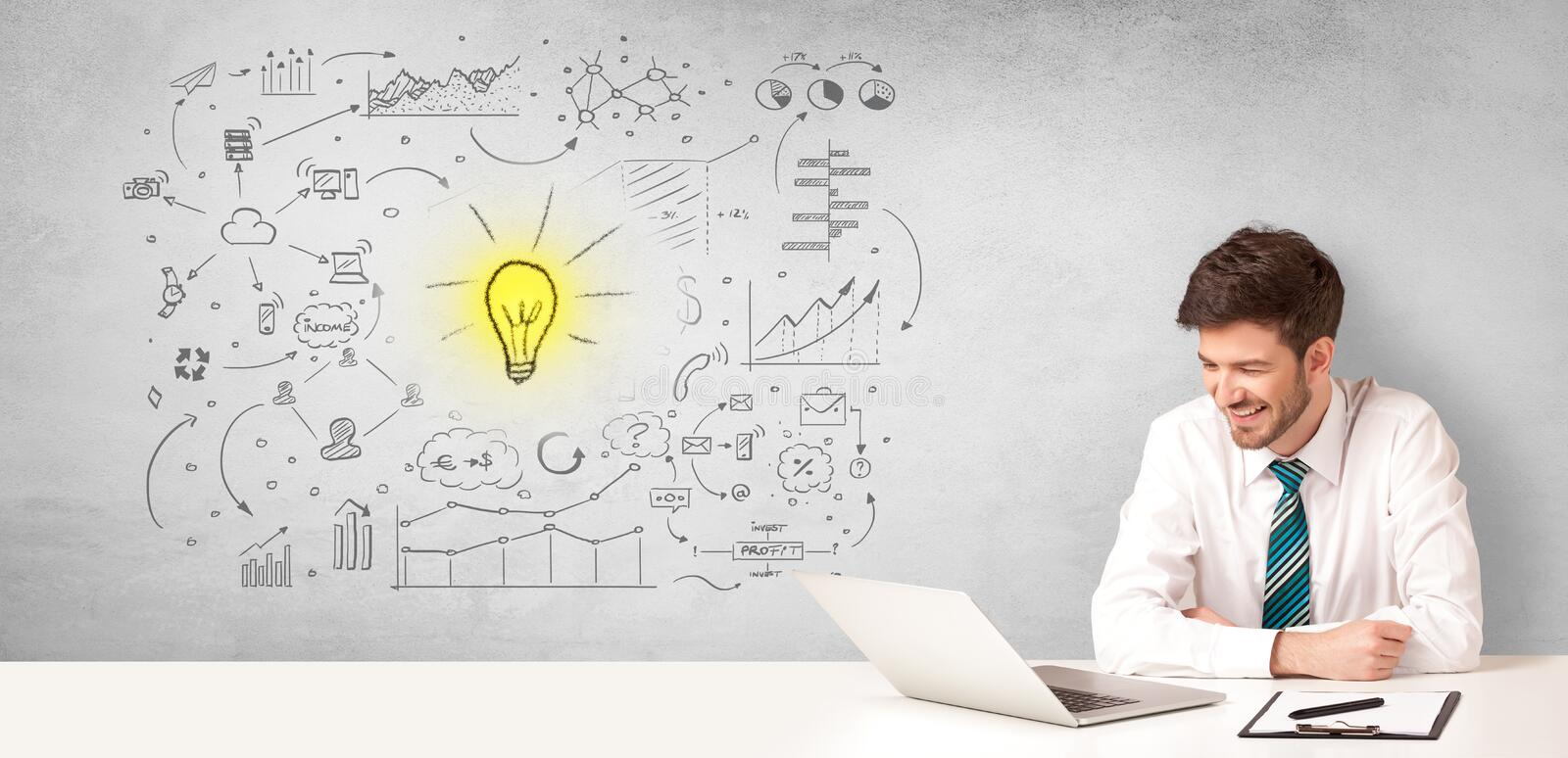 Business person with new idea concept. Young business person with new idea and workflow concept royalty free stock photo