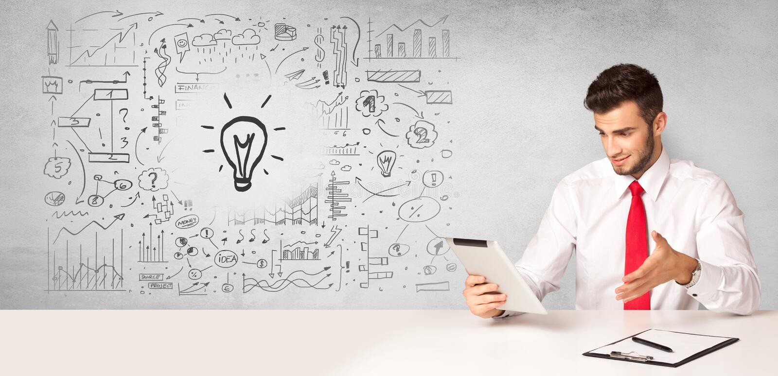 Business person with new idea concept. Young business person with new idea and workflow concept stock images