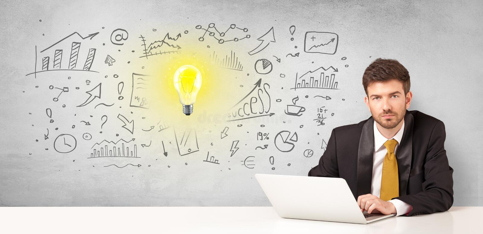 Business person with new idea concept. Young business person with new idea and workflow concept stock photos