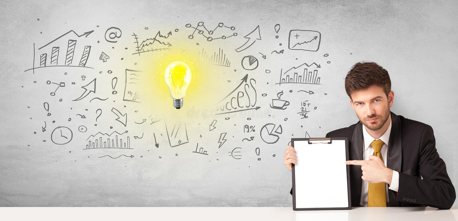 Business person with new idea concept. Young business person with new idea and workflow concept royalty free stock image