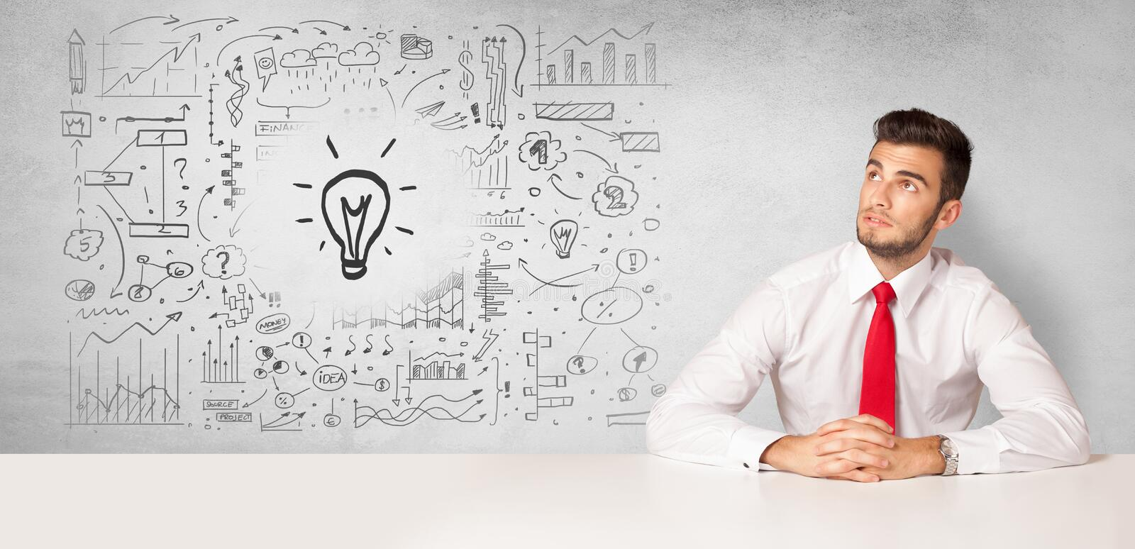 Business person with new idea concept stock photo