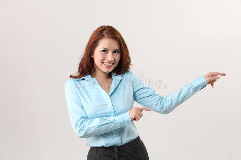 Business Person pointing to the side royalty free stock photos
