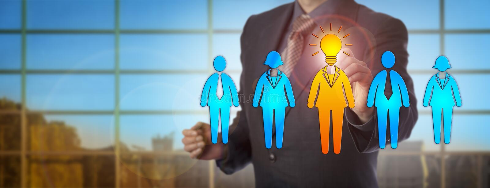 Business Person Selecting The Talent With Idea. Unrecognizable male business person selecting the brightest candidate. Human resources concept for talent royalty free stock image