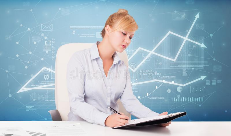 Business person sitting at desk with financial change concept. Business person sitting at desk with financial change, and report making concept stock illustration