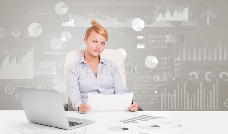 Business person sitting at desk with report analyze concept. Business person sitting at desk with financial change, and report diagram concept stock illustration