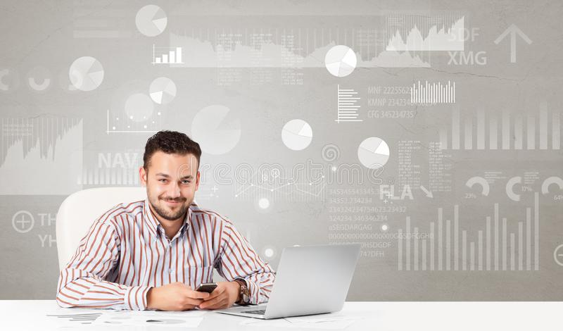 Business person sitting at desk with report analyze concept. Business person sitting at desk with financial change, and report diagram concept stock photography