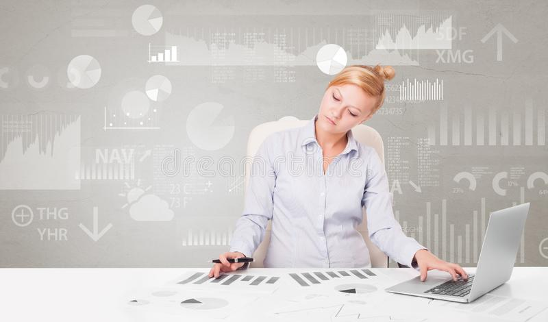 Business person sitting at desk with report analyze concept. Business person sitting at desk with financial change, and report diagram concept royalty free stock photography