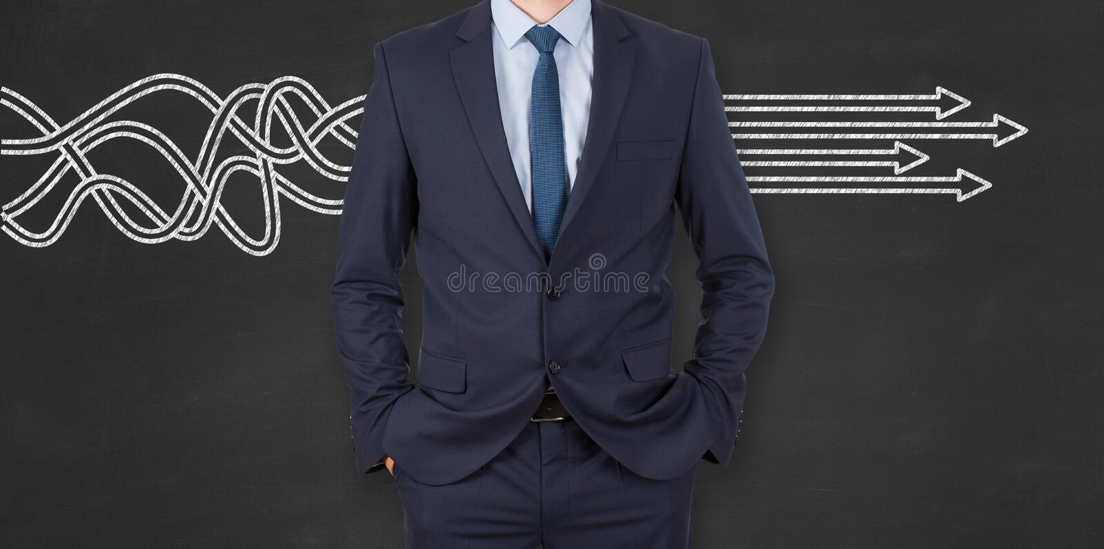 Business Person Solution Concept on Chalkboard Background royalty free stock photos