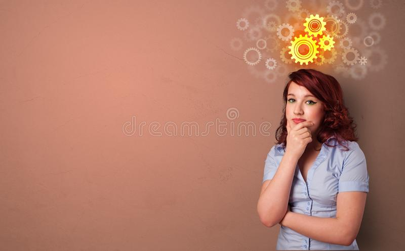 Business person standing with brainstorming concept royalty free stock image