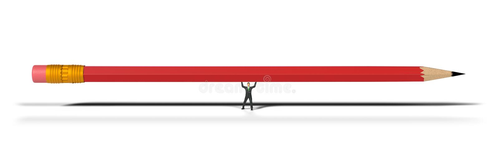 Toy miniature businessman figure lifting a red pencil, concept isolated on white background royalty free stock photo