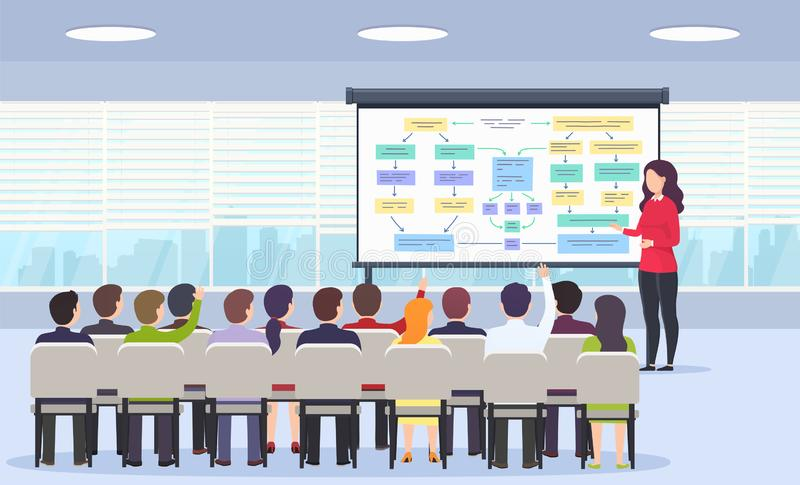Business person teaches a lecture on business strategy, e-commerce and marketing for a sitting audience vector illustration