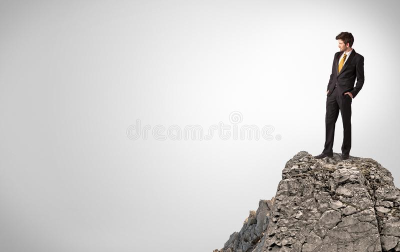 Business person on the top of the rock with copy space royalty free stock photo