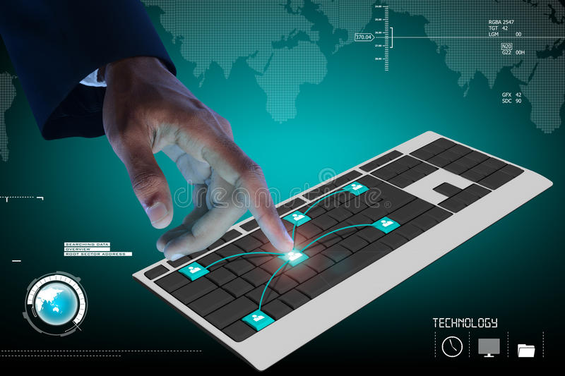 Business person touching digital computer keyboard vector illustration