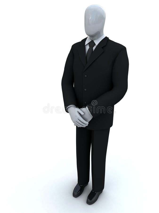 Business person waits having lowered hands stock images