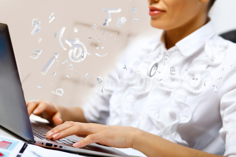 Business person working on computer stock photos