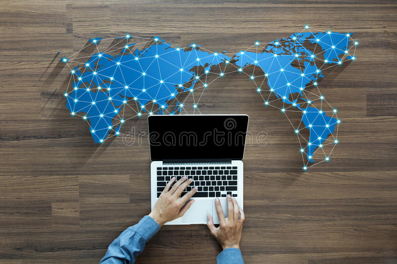 Business person working on computer social media network vector illustration