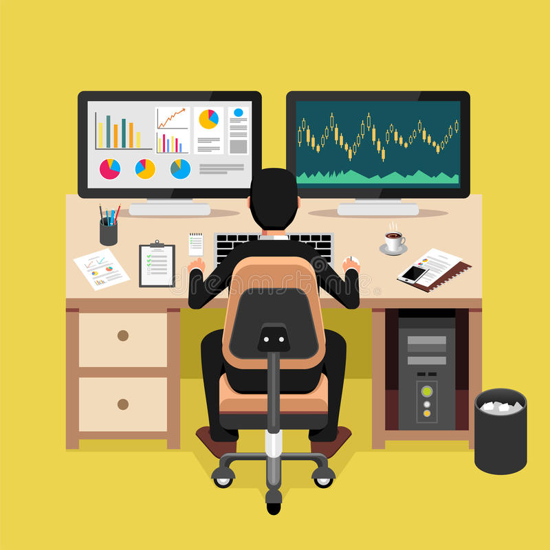Business person working on computer to analyse stock exchanges.  royalty free illustration