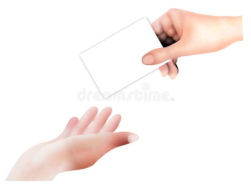 Business Persons Give and Receive A Business Card. Hand Drawing, Person Open A Hand in The Air Receive An Empty Card From A Business Man Isolated on White stock photos