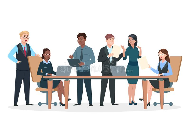 Business persons in office. Flat characters, professional men women work at table and computers. Success business team. Vector concept. Professional team work stock illustration