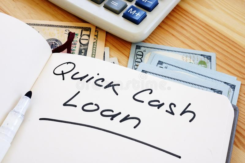 Business photo shows hand written text quick cash loan stock image